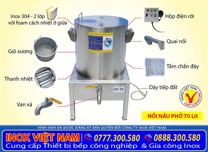 Cấu tạo nồi nấu phở bằng điện, nồi phở bằng điện 70 lít giá tốt tại đơn vị của chúng tôi. Inox Việt Nam.