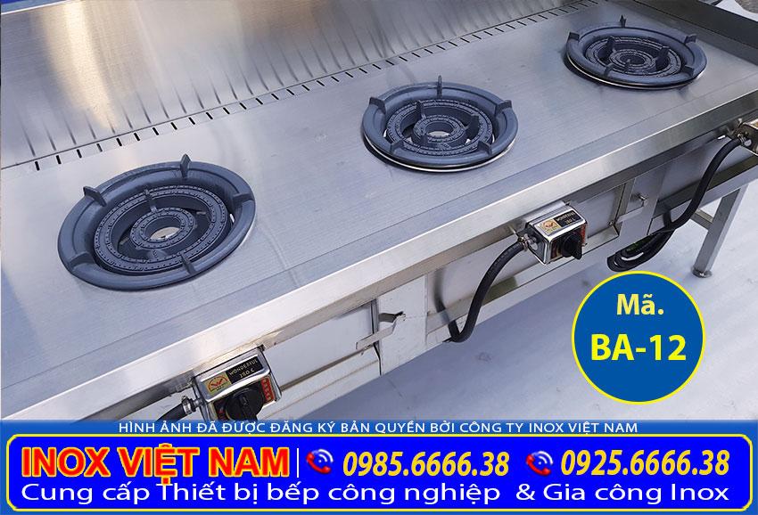 Liên hệ IVN báo giá bếp á 3 họng kiềng tô thấp áp, bếp công nghiệp inox 3 họng loại thấp áp.