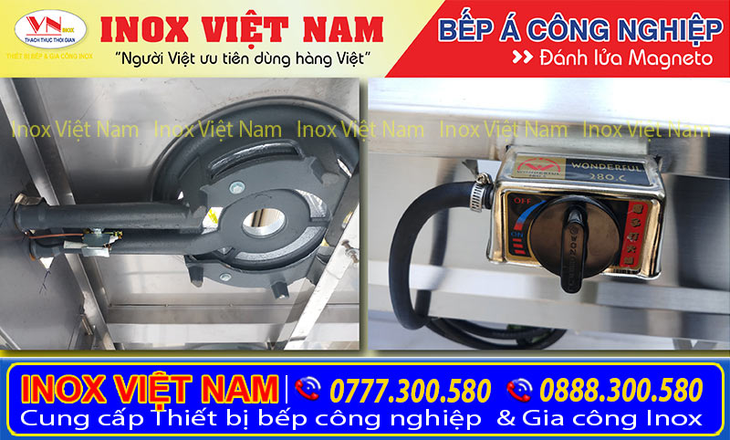 Giá bếp á công nghiệp thấp áp 3 họng đốt tại xưởng sản xuất Inox Việt Nam. Liên Hệ Ngay.