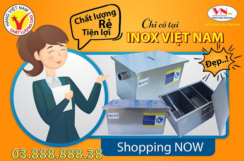 Liên hệ mua bể tách mỡ inox công nghiệp, bể tách mỡ nhà hàng, bể tách mỡ inox gia đình tại xưởng Inox Việt Nam.