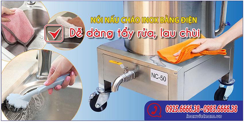 Nồi nấu cháo bằng điện chính hãng tại Inox Việt Nam sản xuất của chúng tôi dễ dàng vệ sinh tẩy rửa, bền đẹp sáng bóng.