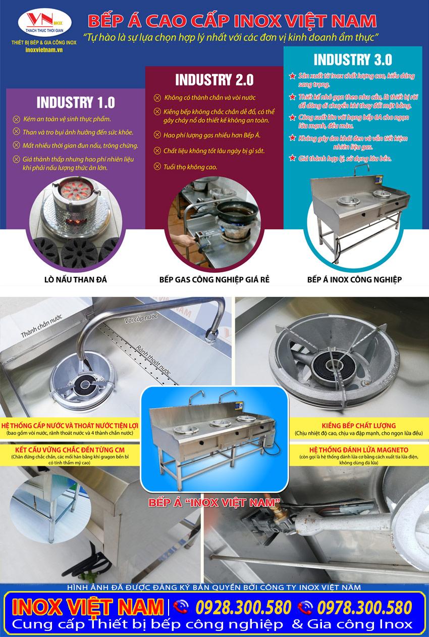 Thiết bị bếp á công nghiệp inox giá tốt, bếp inox nhà hàng, bếp inox công nghiệp chất lượng cao tại Inox Việt Nam.