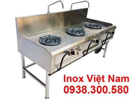Thiết bị bếp inox 3 họng kiềng tô thấp á giá tại xưởng sản xuất.