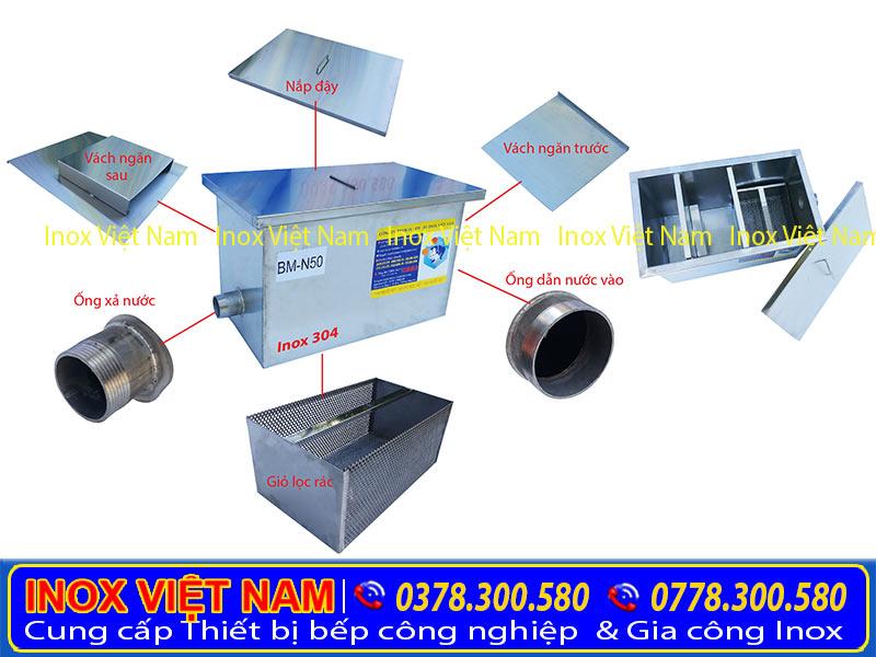 Cấu tạo bể tách mỡ inox [ bẫy mỡ inox, hộp lọc mỡ, thùng lọc mỡ ] được sử dụng cho nhà hàng, gia đình và công nghiệp theo dung tích khách hàng hàng chọn. Tại Inox Việt Nam.