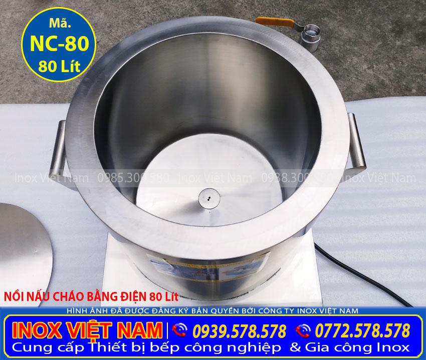 Nồi điện nấu cháo loại 80L, nồi nấu cháo công nghiệp 80L giá tại xưởng sản xuất của chúng tôi Inox Việt Nam. Liên hệ Ngay.
