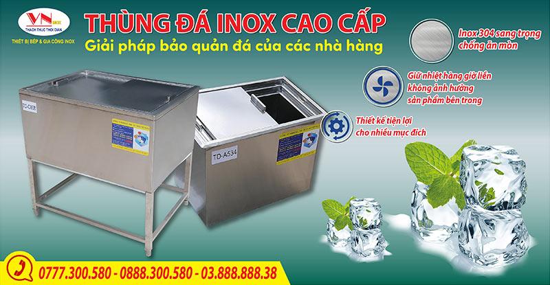 Thùng đá inox giá tôt tại xưởng sản xuất IVN, thùng chứa đá inox giá tốt.