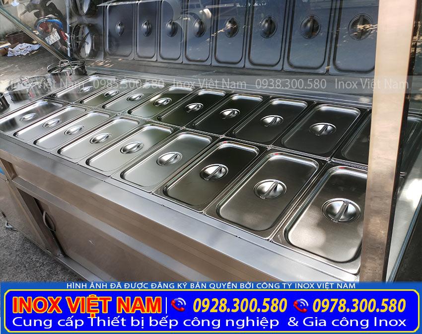 tủ hâm nóng thức ăn 18 khay 3 nồi, tủ trưng bay thức ăn giá tại xưởng Inox Việt Nam.