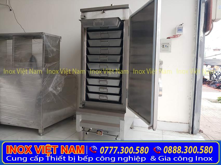 Mẫu tủ hấp cơm công nghiệp bằng điện và gas công suất 50kg gồm 10 khay gạo, tủ hấp cơm công nghiệp 10 khay giá tốt tại xưởng sản xuất IVN.