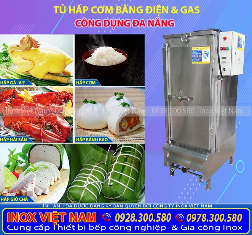 Tủ hấp cơm công nghiệp sử dụng gas và điện giá tốt tại xưởng sản xuất Inox Việt Nam của chúng tôi.
