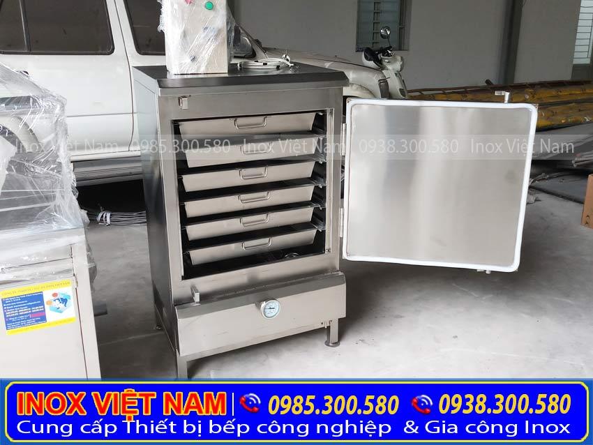 Tủ hấp cơm công nghiệp 6 khay công suất 30 kg gạo sử dụng điện và gas chất lượng tại xưởng sản xuất Inox Việt Nam.