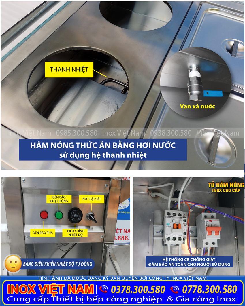 Tủ trưng bày tủ giữ nóng thức ăn, tủ hâm nóng, quầy hâm nóng thức ăn, quầy giữ nóng thực phẩm uy tín mua tại Inox Việt Nam.