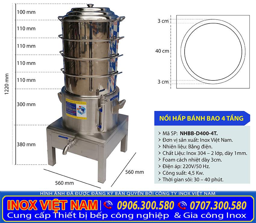 Sản phẩm nồi hấp bánh bao bằng điện chính hãng, kích thước nồi điện hấp bánh bao 4 tầng giá tốt size 400mm cao cấp của chúng tôi.