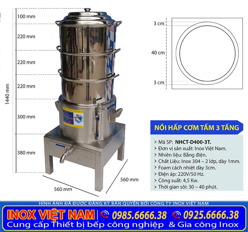 kích thước nồi hấp cơm tấm bằng điện 3 tầng size D400 mm sản phẩm nồi hấp điện công nghiệp đa năng giá tốt tại xưởng IVN.