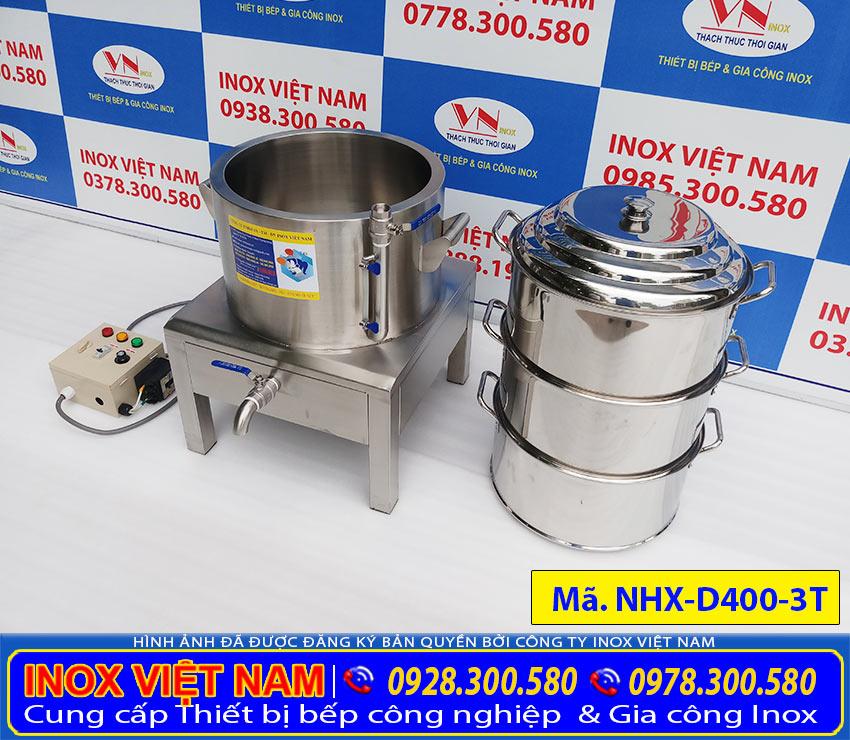 Sản phẩm nồi hấp xôi công nghiệp bằng điện 3 tầng giá tốt được IVN sản xuất nồi hấp xôi điện chất liệu inox 304 bền sáng bóng chất lượng.