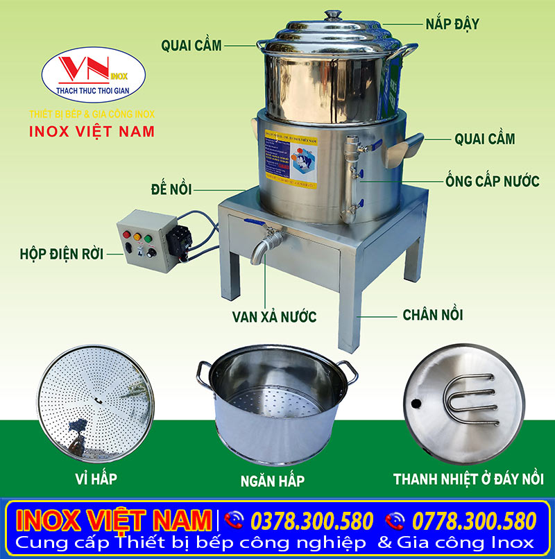 Cấu tạo nồi hấp công nghiệp cách thủy tại IVN, nồi hấp cách thủy inox công nghiệp.