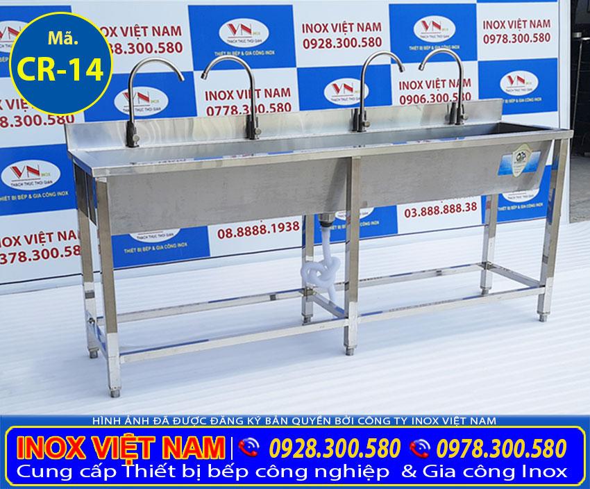 Sản phẩm máng rửa tay inox công nghiệp trường học xí nghiệp giá tốt tại xưởng sản xuất Inox Việt Nam.