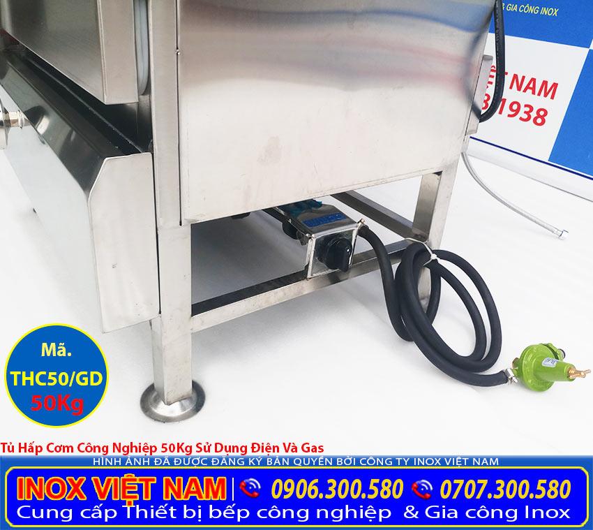 Chi tiết van vặn gas tủ hấp công nghiệp, tủ cơm công nghiệp, tủ cơm bằng điện và gas 2 trong một, hoặc chỉ bằng gas.