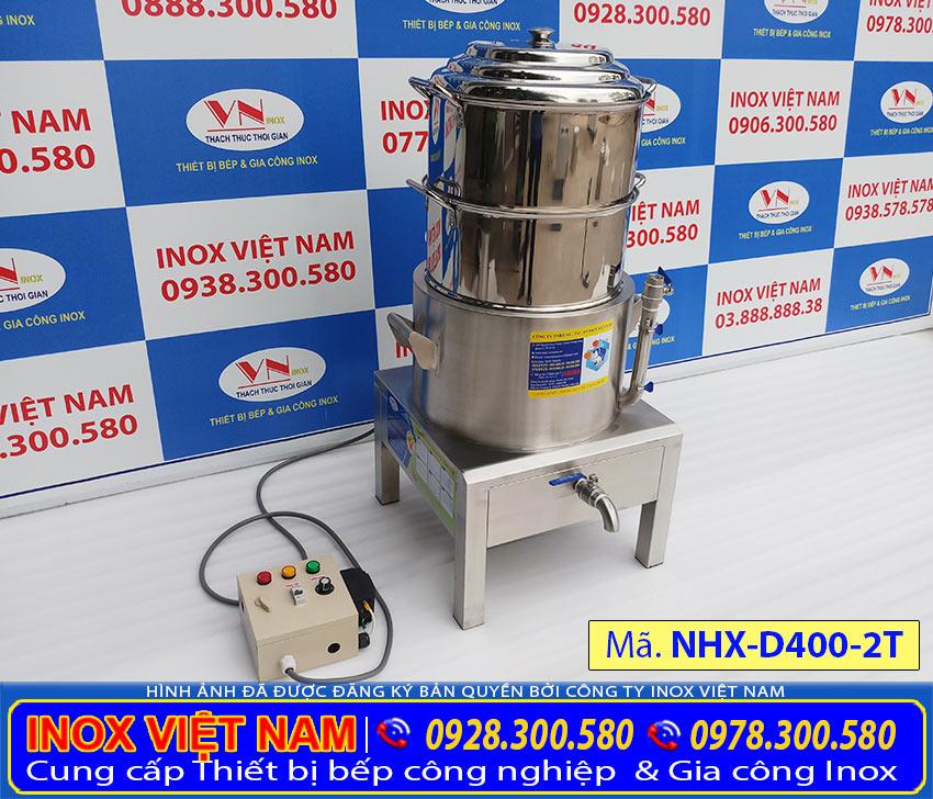 Inox Việt Nam nhà sản xuất nồi hấp xôi công nghiệp 2 tầng, nồi hấp điện công nghiệp, nồi điện hấp xôi giá tốt.