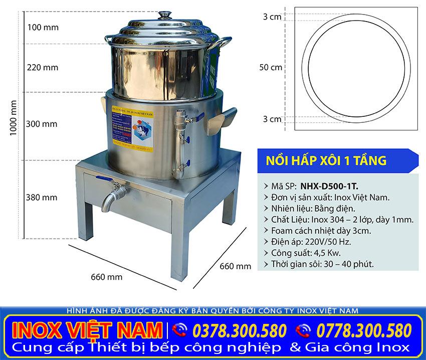 kích thước nồi đồ hấp xôi công nghiệp bằng điện 1 tầng có size D500mm tại xưởng sản xuất nồi hấp điện Inox Việt Nam.