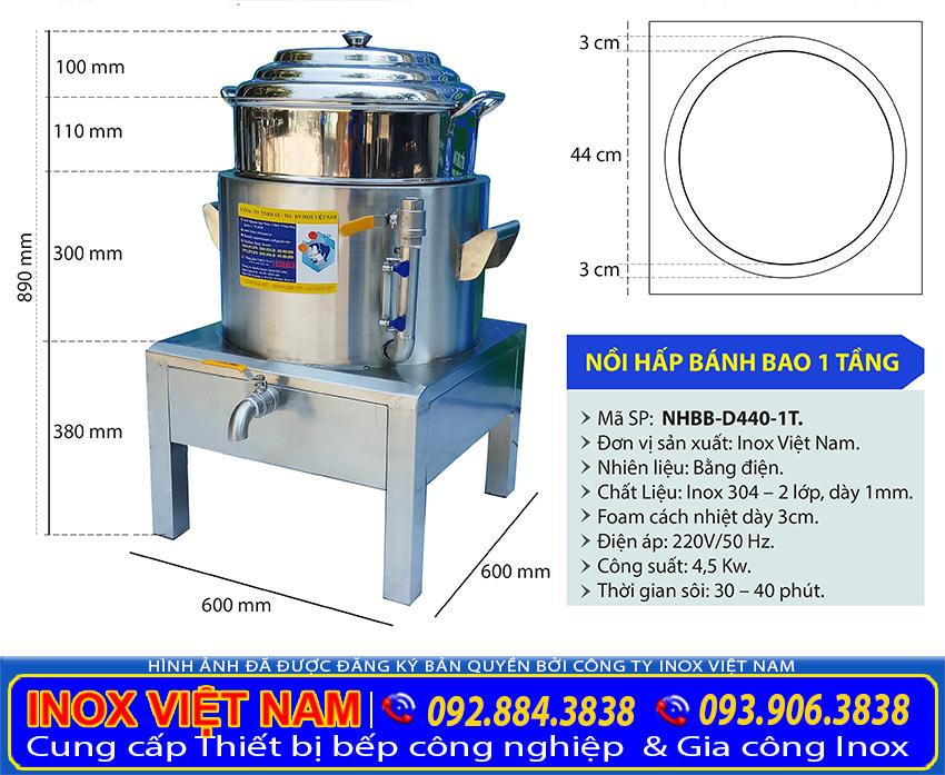 Kích thước nồi hấp bánh bao bằng điện size D440 tại xưởng sản xuất Inox Việt Nam.