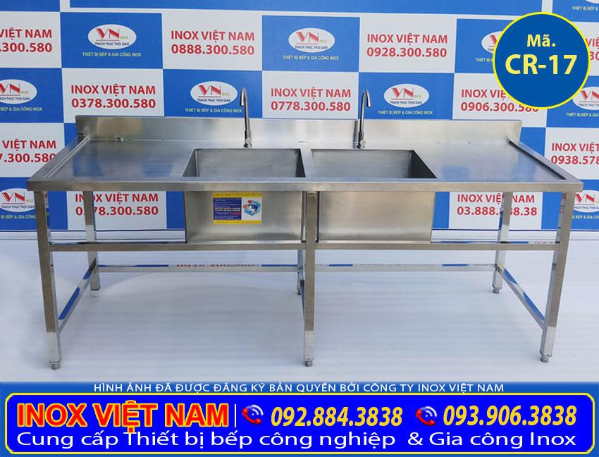 Báo giá chậu rửa đôi công nghiệp có bàn rửa, chậu rửa tay inox 304 tại xưởng Inox Việt Nam. Liên hệ mua ngay.