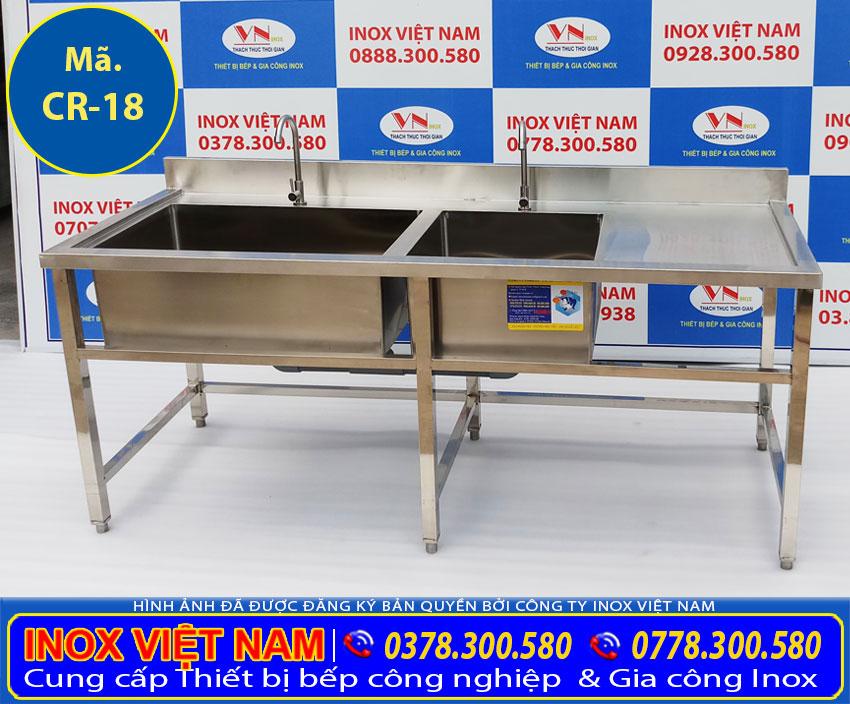 Chậu rửa inox công nghiệp 2 hộc gồm hộc lớn hộc nhỏ có bàn rửa cánh phải sản phẩm mới thuộc hạng mục chậu rửa inox công nghiệp tại xưởng sản xuất IVN của chúng tôi.