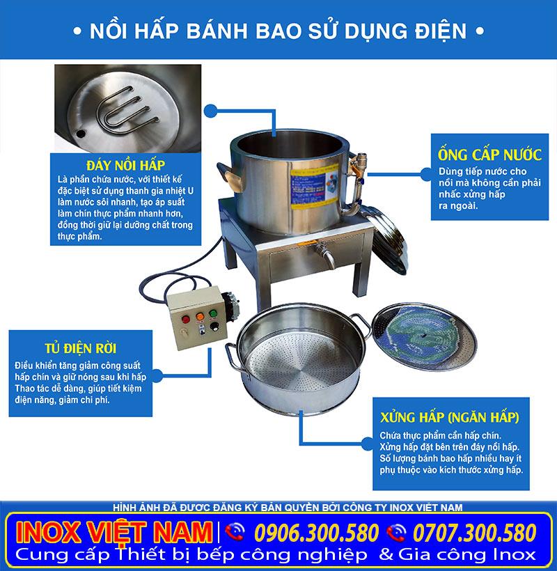 Địa chỉ mua nồi hấp bánh bao bằng điện giá tốt, sản phẩm nồi inox hấp có xửng hấp cách thủy công nghiệp.