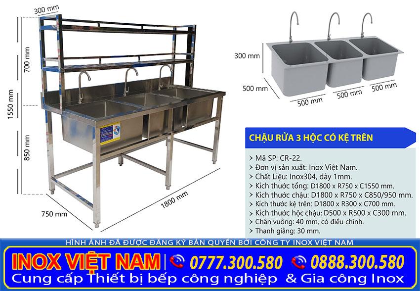 Kích thước chậu rửa 3 ngăn lớn có kệ trên giá tốt tại Inox Việt Nam.