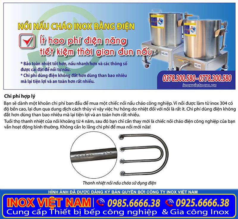 Nồi nấu cháo inox bằng điện giá tốt, sản phẩm nồi nấu cháo bằng điện, nồi nấu cháo công nghiệp được sử dụng rộng rãi khi mua tại xưởng IVN.