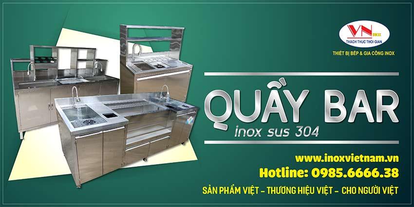 Quầy bar inox, quầy bar cafe, quầy pha chế trà sữa chất liệu inox 304 hoàn toàn được Inox Việt Nam chúng tôi mang đến tay người tiêu dùng.