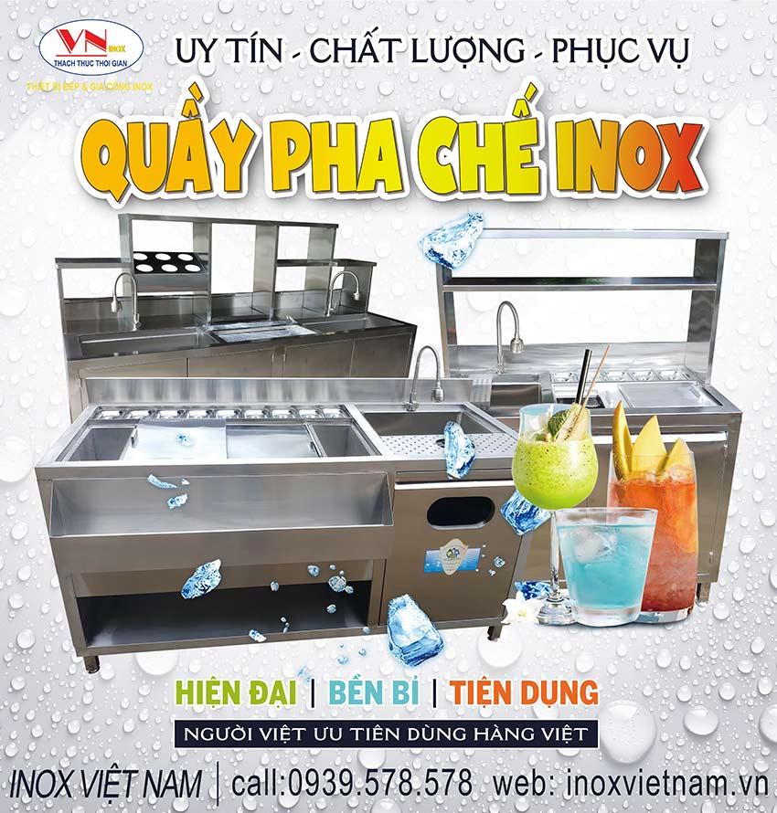 Địa chỉ sản xuất quầy pha chế inox, quầy pha chế bar cafe trà sữa theo yêu cầu hoặc mẫu có sẵn tại phòng trưng bày. Liên hệ mua ngay.