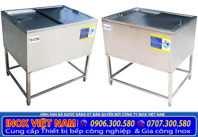 Mẫu thùng đá inox 304 giá tốt sản xuất theo đơn hàng hoặc kích thước mẫu có sẵn tại showroom