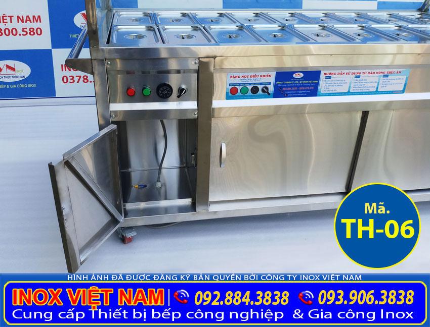 Cận cảnh bảng điều khiển của tủ điện hâm nóng thức ăn rất an toàn khi sử dụng và vệ sinh.
