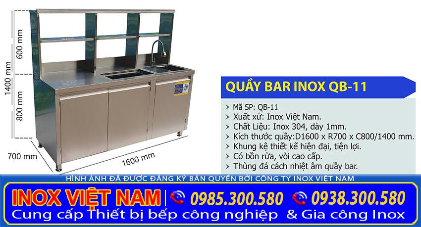 Báo giá quầy bar inox 304 đẹp, quầy bar cafe, quầy bar trà sữa inox xưởng Inox Việt Nam.