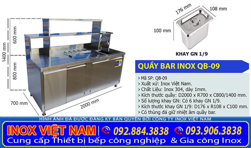 Báo giá quầy pha chế inox, quầy pha chế trà sữa inox 304 uy tín chuyên nghiệp tại TP HCM. Liên hệ Inox Việt Nam ngay.