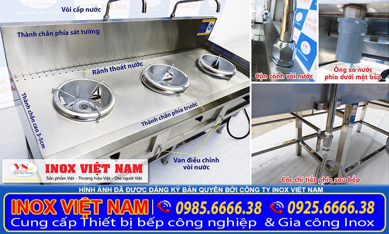 Bếp á công nghiệp inox 3 họng, thiết bị bếp á công nghiệp bằng inox 304 chất lượng tại IVN.