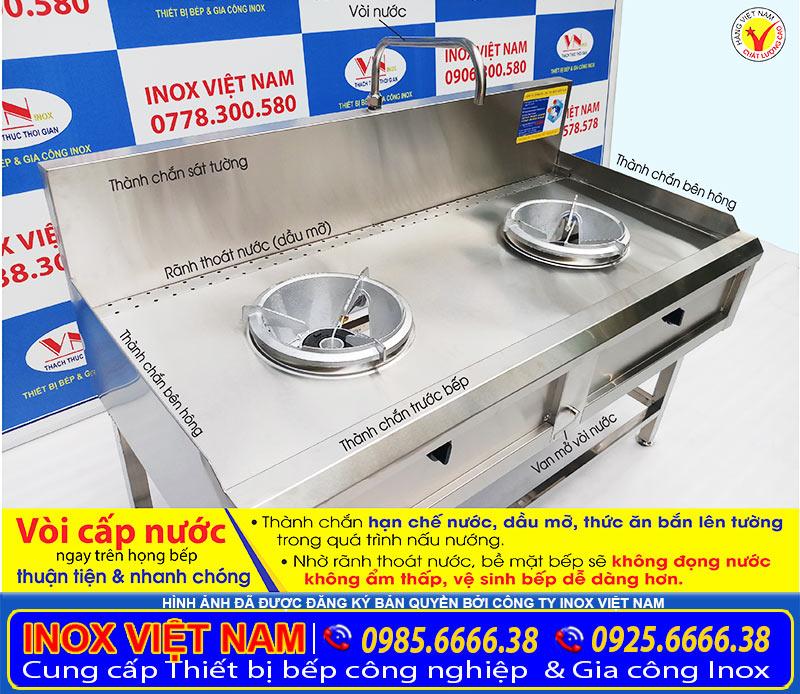 Bếp á inox công nghiệp 2 họng, thiết bị bếp inox nhà hàng 2 họng tại xưởng Inox Việt Nam.