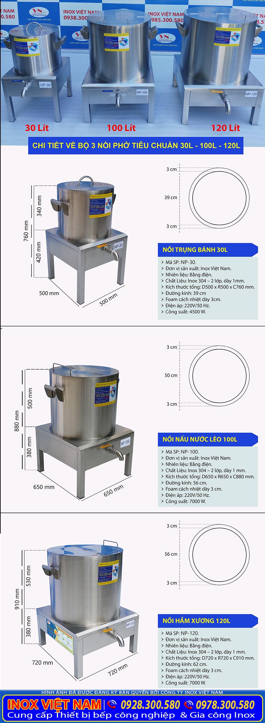 Chi tiết từng nồi phở điện của bộ ba nồi nấu phở bằng điện 30 lít 100 lít và 120 lít giá tốt tại đơn vị Inox Việt Nam.