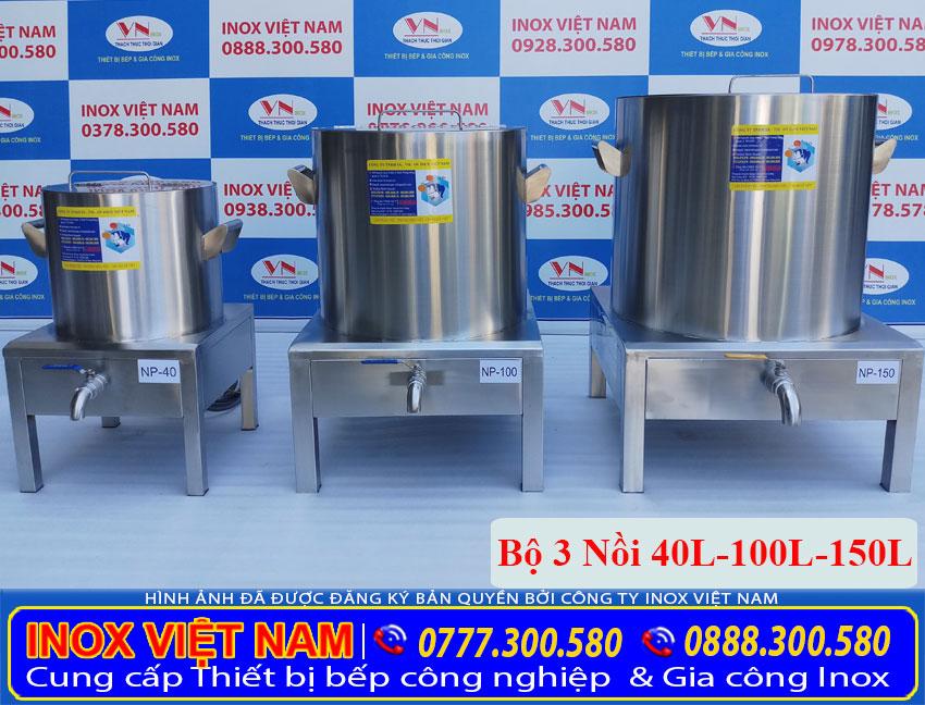 Bộ nồi điện nấu phở 40 lít 100 lít 150 lít chất liệu inox 304 an toàn sáng bóng và có tính thẩm mỹ cao.