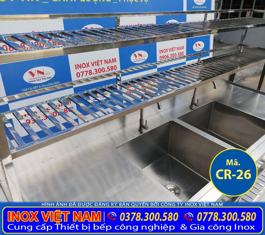 Cấu tạo bồn rửa bát công nghiệp 2 ngăn lớn sản phẩm chậu rửa inox, bồn rửa inox công nghiệp.