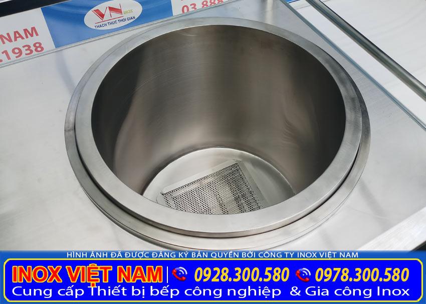 Cấu tạo của nồi nấu nước lèo bằng điện của quầy bán hủ tiếu, bán phở tại xưởng Inox Việt Nam.