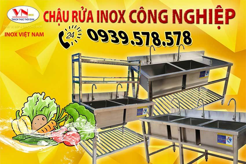 Chậu rửa inox công nghiệp, bồn rửa inox công nghiệp nhà hàng khách sạn. Liên hệ Inox Việt Nam mua ngay.