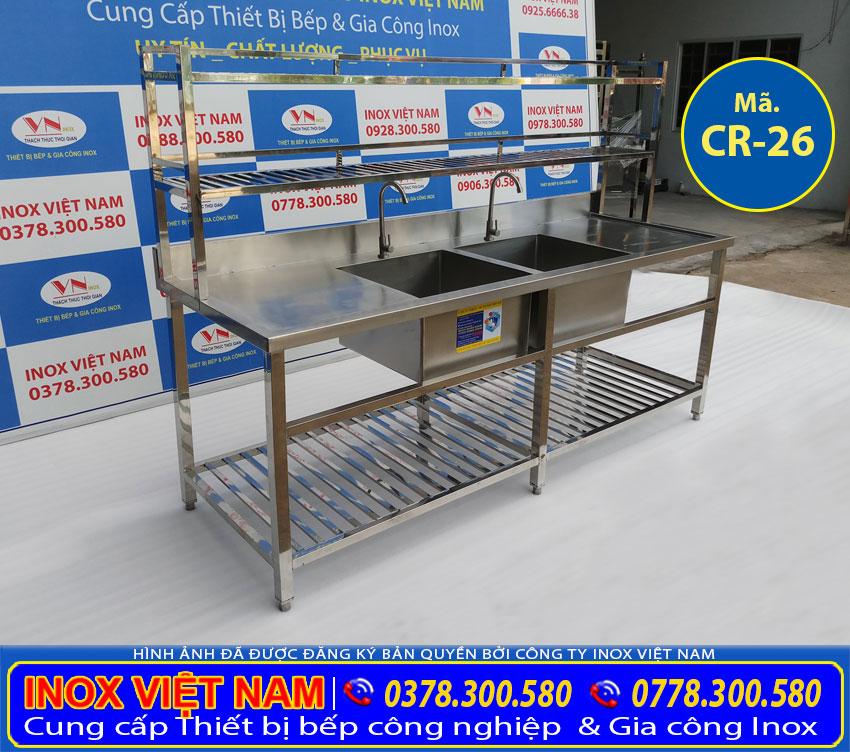 Địa chỉ bán chậu rửa chén nhà hàng 2 ngăn lớn inox 304, chậu rửa inox, bồn rửa chén inox giá tốt tại xưởng IVN.