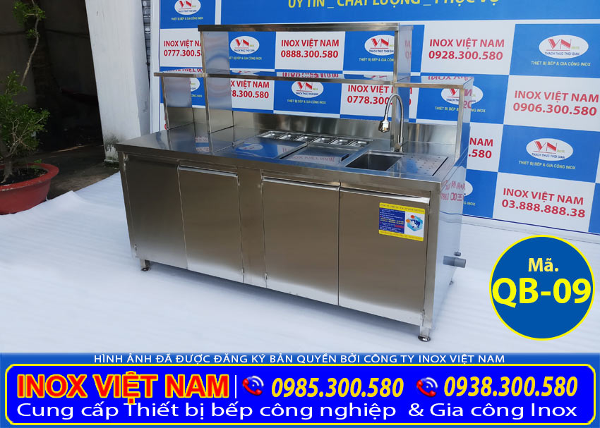 Địa chỉ bán quầy bar inox 304 đẹp, quầy bar trà sữa, quầy pha chế trà sữa đẹp sang trọng. Liên hệ Inox Việt Nam.