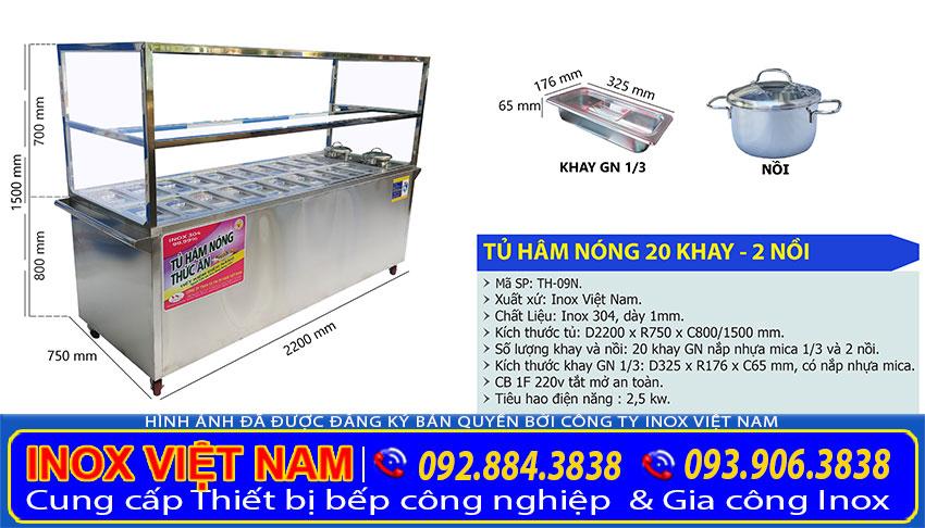 Địa chỉ mua tủ hâm nóng thức ăn 20 khay 2 nồi tại Tp HCM, tủ giữ nóng thức ăn bán quán cơm.
