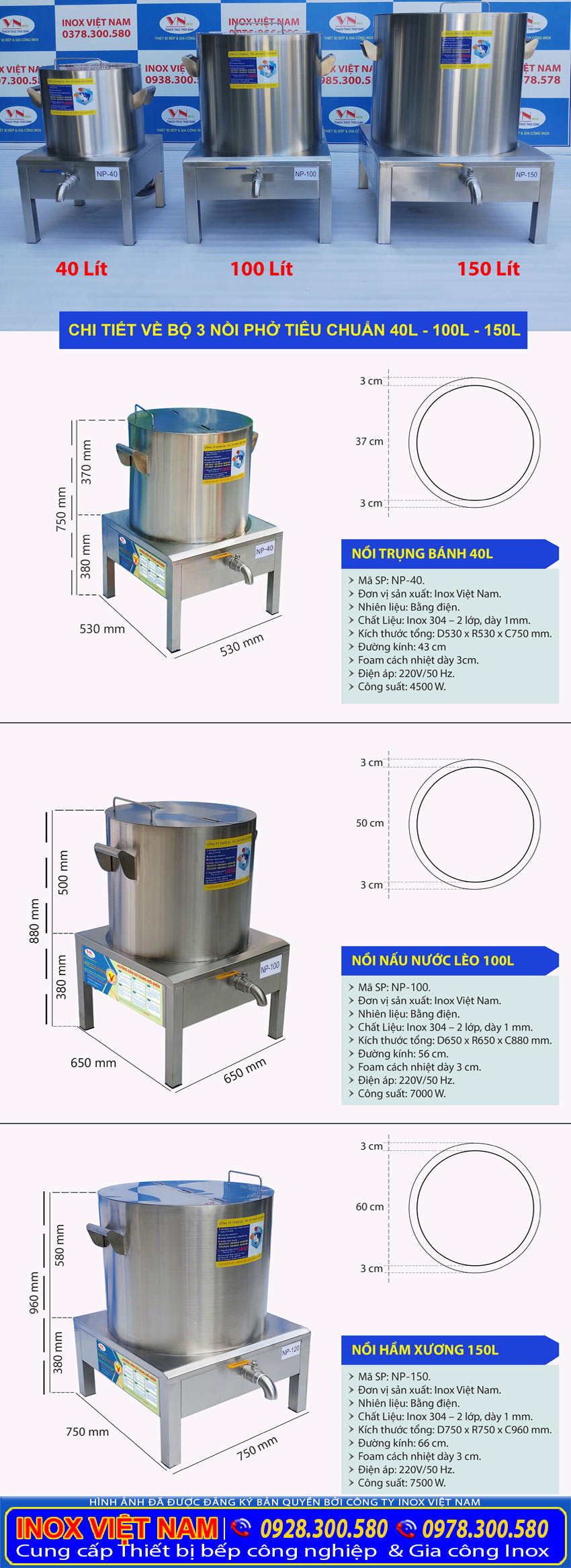 Kích thước nồi nấu phở bằng điện công nghiệp 40 lít 100 lít 150 lít tại nhà sản xuất Inox Việt Nam.