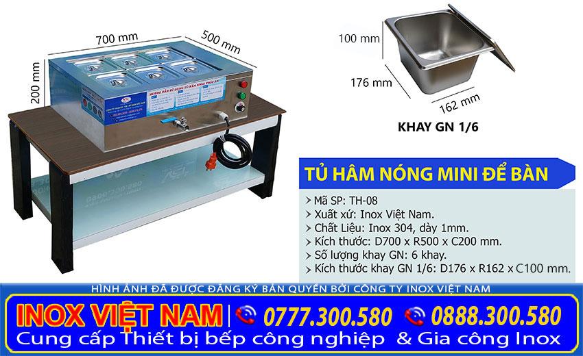 Kích thước tủ hâm nóng thức ăn mini để bàn, máy hâm nóng thức ăn công nghiệp do Inox Việt Nam sản xuất.