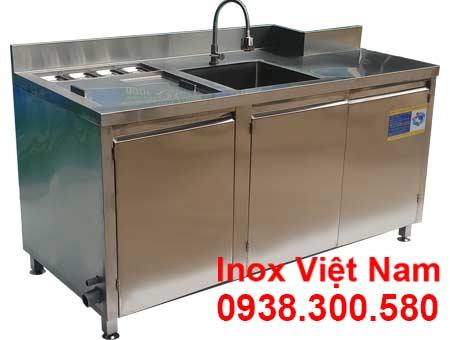 Quầy pha chế cafe inox mẫu QB-08 tại xưởng Inox Việt Nam.