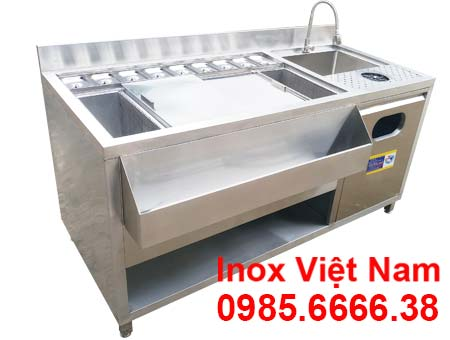 Quầy pha chế trà sữa inox đẹp mã QB-03 tại Inox Việt Nam.