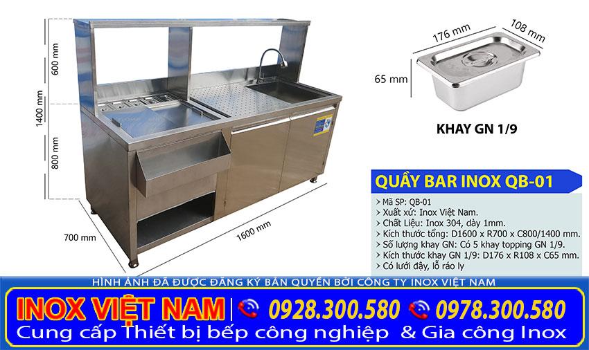 Thông số kỹ thuật quầy bar cafe inox đẹp mã QB-01 được xưởng Inox Việt Nam chúng tôi sản xuất mang đến tay khách hàng.